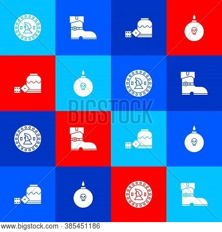 Set Pirate Coin, Leather Pirate Boots, Game Dice And Bomb Ready To Explode Icon. Vector