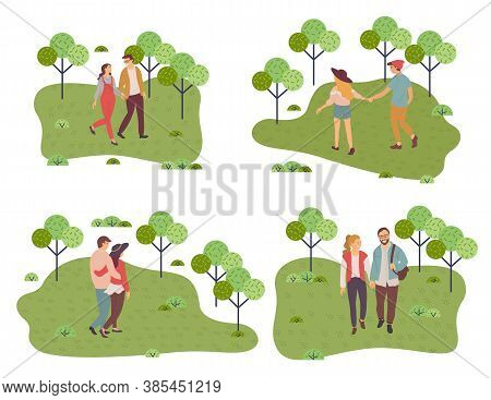 Collection Of Illustrations. Happy In Love Couple Walking In Park. People Walking At Nature Hugging