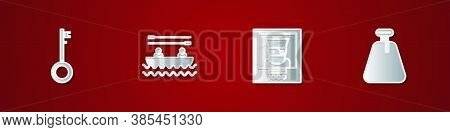 Set Pirate Key, Boat With Oars, Wanted Poster Pirate And Sack Icon. Vector