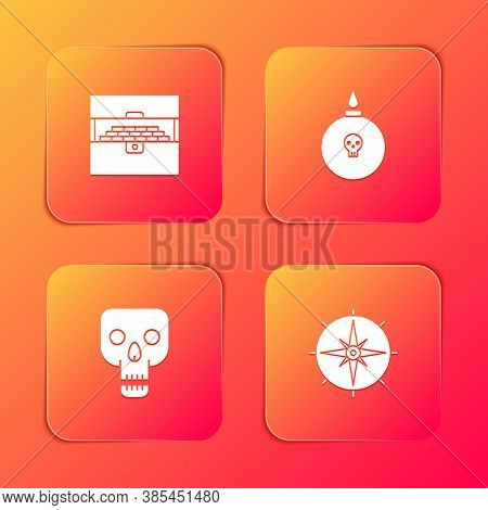 Set Antique Treasure Chest, Bomb Ready To Explode, Skull And Wind Rose Icon. Vector