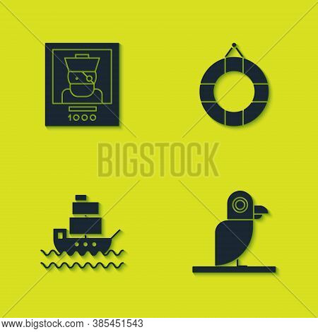 Set Wanted Poster Pirate, Pirate Parrot, Ship And Lifebuoy Icon. Vector