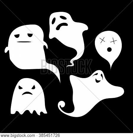 Funny Halloween Ghost Set In Different Poses. Collection Of Eerie Flying Halloween Ghosts For Design