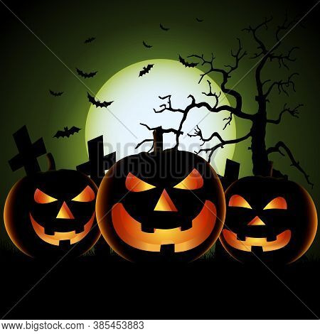 Halloween Poster With Three Scary Pumpkins In Background Vector Eps 10