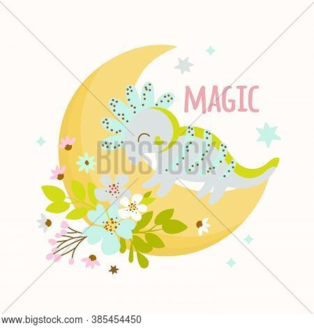 Dino Baby Hand Drawn Flat Design Grunge Style Cartoon Prehistoric Animal Moon Vector Illustration Ap