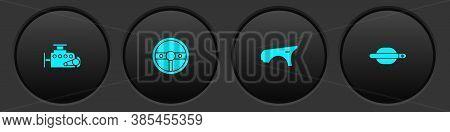 Set Car Engine, Steering Wheel, Fender And Door Handle Icon. Vector