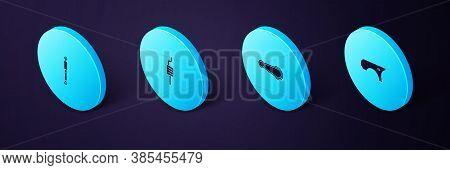 Set Isometric Car Fender, Door Handle, Muffler And Shock Absorber Icon. Vector