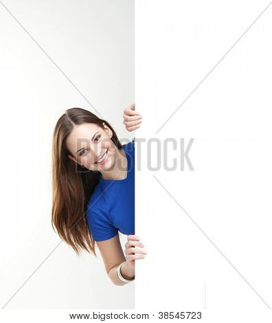 Girl with the blank banner. Perfect space to put any text.
