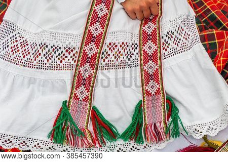 Traditional Old Lithuanian Costume. Lithuanian National Dress Ornament