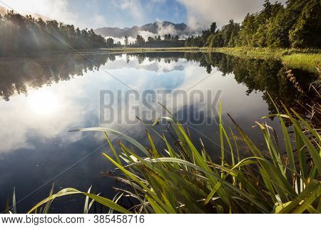 Beautiful natural landscapes- Mt Cook reflection in Lake Matheson, South Island, New Zealand