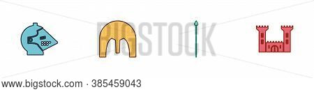 Set Medieval Iron Helmet, , Spear And Castle Icon. Vector