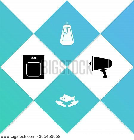 Set Battery In Pack, Fish Care, Bottle For Dishwashing Liquid And Spread The Word, Megaphone Icon. V