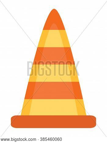 Cone With Stripes Used In Road Warning Vector, Plastic Object Of Bright Color. Attention Constructio