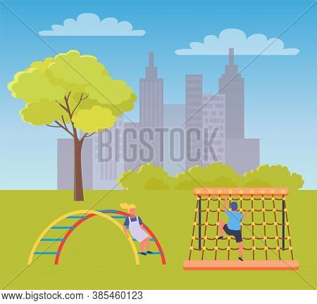 Children Playing Playground Vector Illustration. Kids On The Summer Play-field Play In City Park. Co