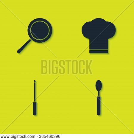 Set Frying Pan, Spoon, Knife Sharpener And Chef Hat Icon. Vector