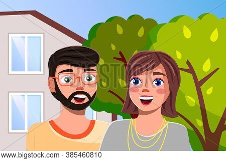 Couple Man And Woman At The Modern Family Villa House With Green Trees In The Home Garden. Smiling P