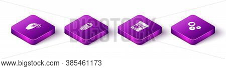 Set Isometric Hand Holding Coin Money, Pos Terminal With Credit Card, Shopping Building Or Market St