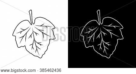 Leaf With Streaks. Icons Set. Isolated Black And White Sign. Vector Illustration. Great For Use As A