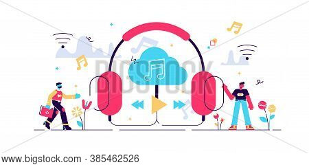 Streaming Music Vector Illustration. Flat Tiny Persons Concept With Headphones. Online Broadcast Ser