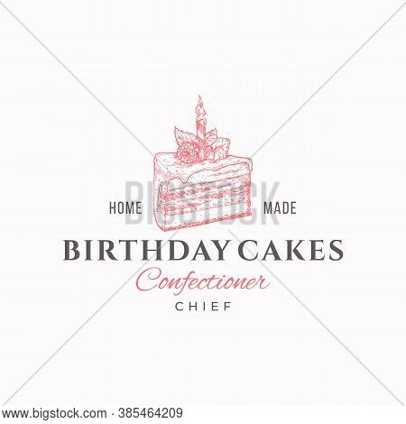 Birthday Cakes Chief. Premium Quality Confectionary Abstract Sign, Symbol Or Logo Template. Hand Dra