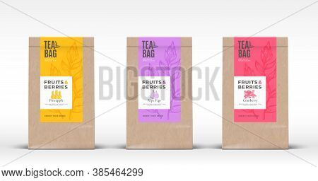 Craft Paper Bag With Fruit And Berries Tea Labels Set. Abstract Vector Packaging Design Layout With