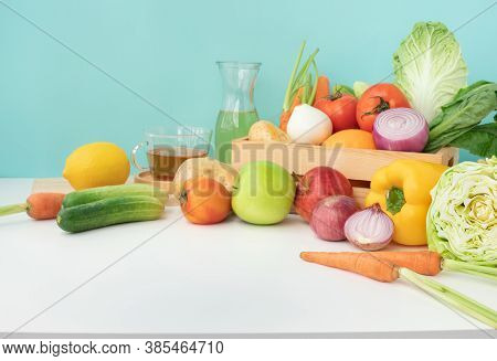Selective Focus.set Of Variety Vegetable With Copy Space Of Table, Kitchen Counter.healthy Eating Wi