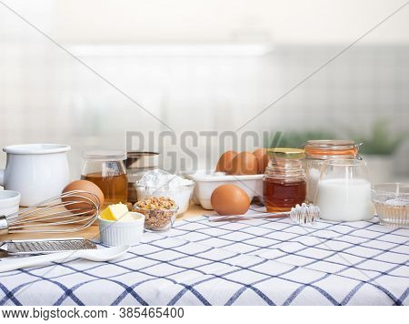 Selective Focus.cooking Breakfast Food Or Bakery With Ingredient And Copy Space Of Tablecloth In Kit