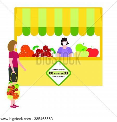 Vector Illustration People Social Distancing Market Selling Vegetables, Fruits, Berries Keep Social
