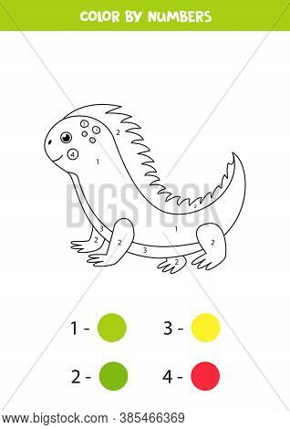 Coloring Page With Cute Cartoon Iguana. Educational Game.