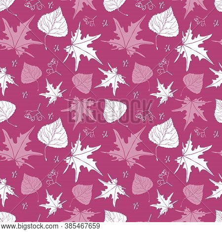 Autumn Forest Falling Leaves Concept Seamless Pattern. Hand Drawn Graphic White Silhouettes Design.