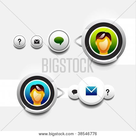 Vector user round button with tooltip: chat, message box, information