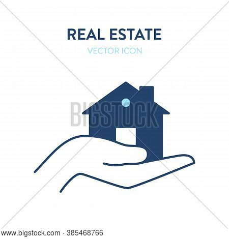 Hand Holding House Icon. Vector Illustration Of A Human Hand Carefully Holding A House. Represents C