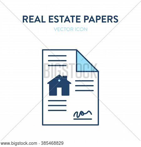 Real Estate Purchase Agreement Icon. Vector Illustration Of A Paper Document Representing Contract O