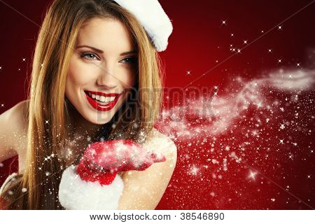 Portrait of beautiful sexy Girl Santa Claus Kleidung