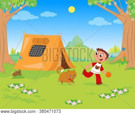 Boy And Dog Playing In A Campsite, Vector Illustration