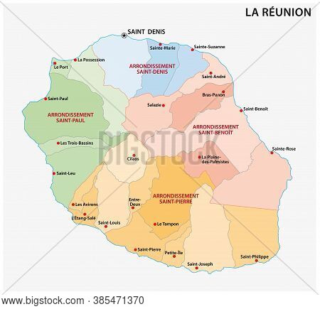 Vector Map Of The Parishes Of The Reunion Department, France