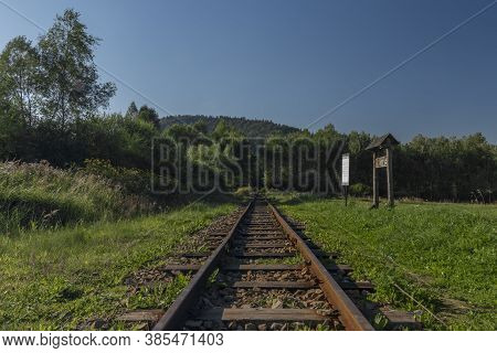 Narrow Gauge Railway Near Krzywe Station In Poland Mountains In Summer Evening