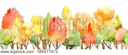 Watercolor Autumn Forest Seamless Border. Fall Colors. Colorful Tree Header Isolated On The White Ba