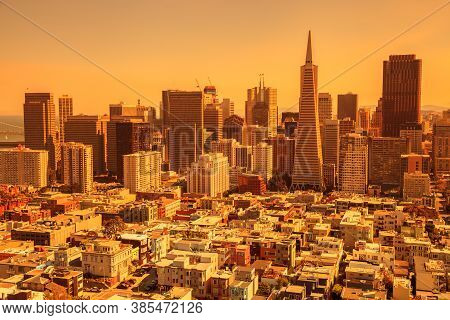 Smoky Orange Sky Of San Francisco Skyline. California Fires In September 2020 In United States. Wild