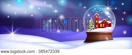 Christmas Snow Ball Illustration With Red Village House, Drifts, Pine Tree, Shiny Stars. Holiday X-m