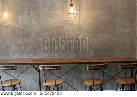 Decorating Living Room Interior In Loft, Industrial Style, Coffee Shop Restaurant Office Work Space,