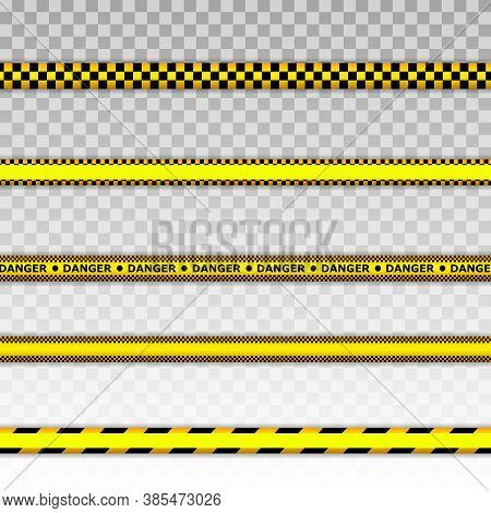 Caution Tape Set Of Yellow Warning Ribbons. Warning Tapes. Danger Signs. Vector Illustration.