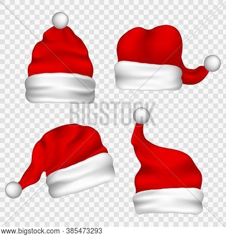 Christmas Santa Claus Hats With Fur Set. New Year Red Hat Isolated.  Vector Santa Claus Hat Colllect