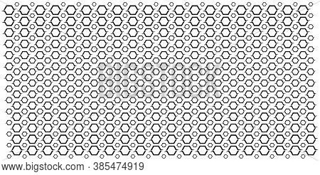 Large And Small Repetitive Hexagons. Abstract Geometric Pattern