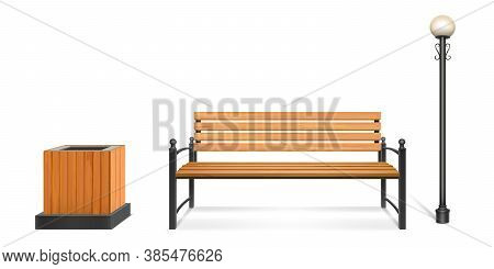 Wooden Park Bench, Street Lamp And Litter Bin, Outdoor Wood Seat With Forged Legs And Armrests, Lant