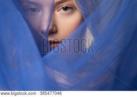 Charming Young Woman Wearing Beautiful Blue Veil