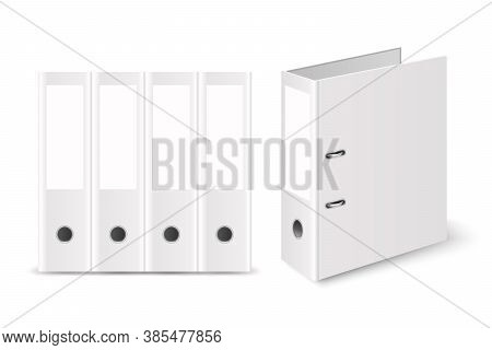Vector 3d Closed Realistic White Blank Office Binder With Metal Rings For A4 Paper Sheet Set Closeup