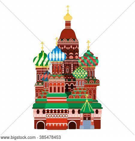 Moscow Cathedral On Red Square. Flat Style Vector Illustration