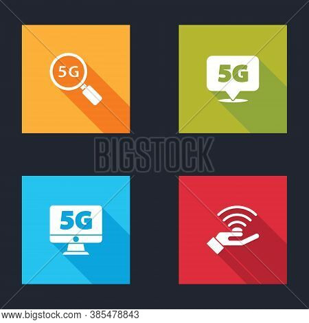 Set Search 5g Network, Location, Monitor With And Icon. Vector