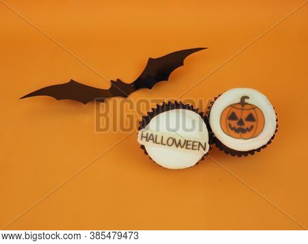 Cupcake, Cupcakes Concept, Halloween Concept. Group Of Halloween Cupcake