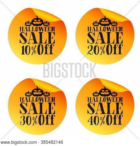 Halloween Orange Sale Stickers Set With Pumpkins 10%, 20%, 30%, 40% Off. Vector Illustration